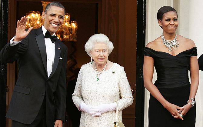 Барак иМишель Обама встретились скоролевой ЕлизаветойII