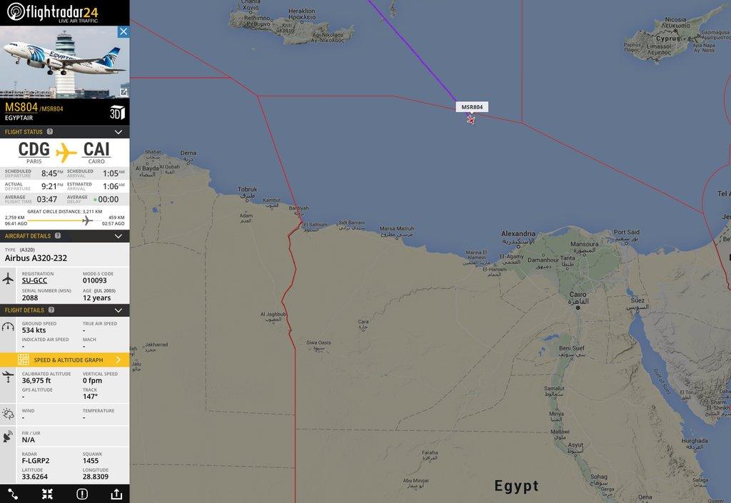 Самолет EgyptAir пропал срадаров