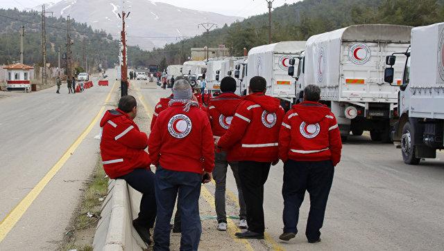 В 4 города Сирии восаде впервый раз заполгода доставили гуманитарную помощь