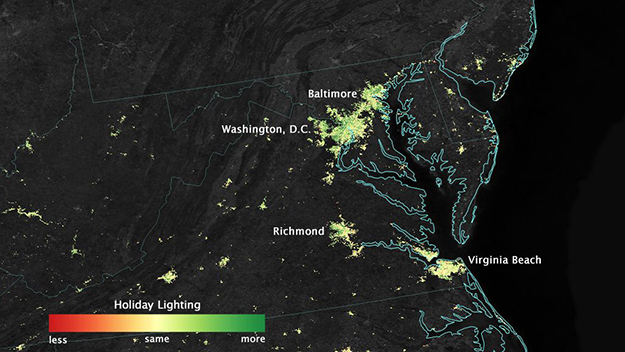 Профессионалы NASA опубликовали фото праздничных огней изкосмоса