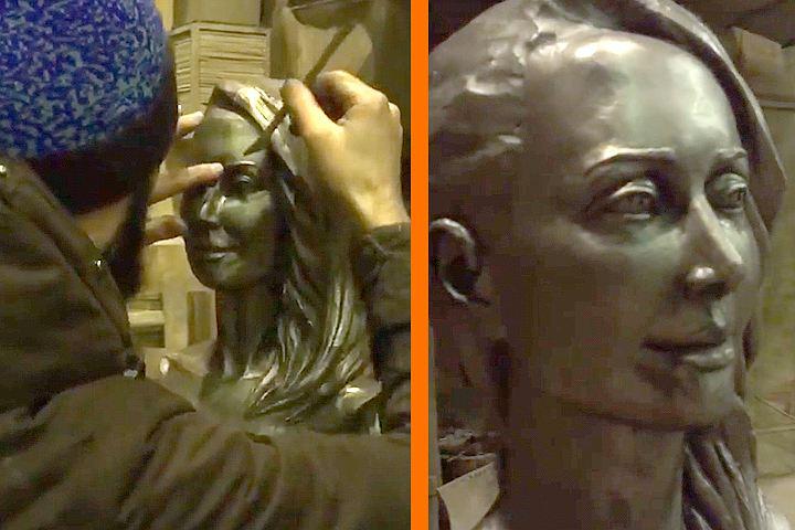 Сестра Жанны Фриске показала пробный вариант монумента эстрадной певице